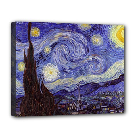 Van Gogh Starry Night Deluxe Canvas 20  X 16   by MasterpiecesOfArt