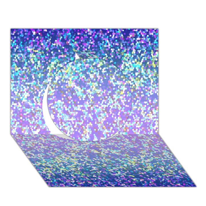 Glitter 2 Circle 3D Greeting Card (7x5)