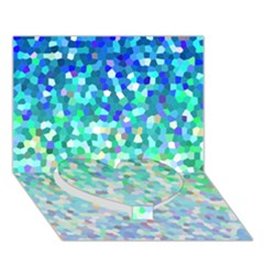 Mosaic Sparkley 1 Heart Bottom 3d Greeting Card (7x5)  by MedusArt