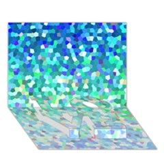 Mosaic Sparkley 1 Love Bottom 3d Greeting Card (7x5)  by MedusArt