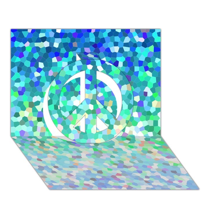 Mosaic Sparkley 1 Peace Sign 3D Greeting Card (7x5)
