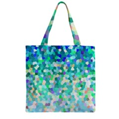 Mosaic Sparkley 1 Zipper Grocery Tote Bags by MedusArt