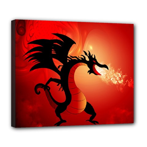 Funny, Cute Dragon With Fire Deluxe Canvas 24  X 20   by FantasyWorld7