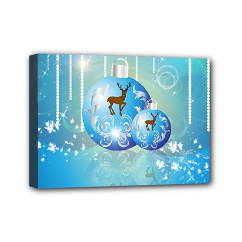 Wonderful Christmas Ball With Reindeer And Snowflakes Mini Canvas 7  X 5  by FantasyWorld7