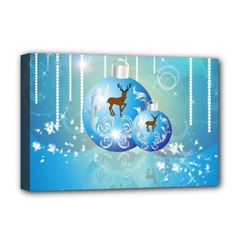 Wonderful Christmas Ball With Reindeer And Snowflakes Deluxe Canvas 18  X 12   by FantasyWorld7