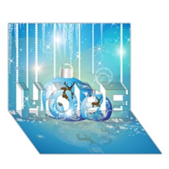Wonderful Christmas Ball With Reindeer And Snowflakes Hope 3d Greeting Card (7x5)  by FantasyWorld7