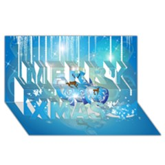 Wonderful Christmas Ball With Reindeer And Snowflakes Merry Xmas 3d Greeting Card (8x4)