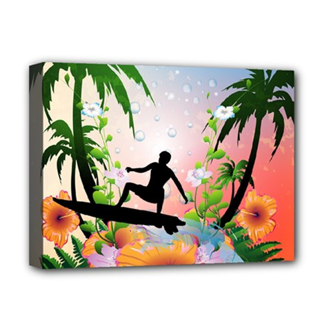 Tropical Design With Surfboarder Deluxe Canvas 16  X 12   by FantasyWorld7