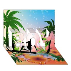 Tropical Design With Surfboarder Boy 3d Greeting Card (7x5) by FantasyWorld7