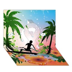Tropical Design With Surfboarder Ribbon 3d Greeting Card (7x5)  by FantasyWorld7