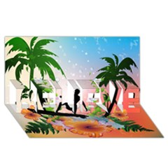 Tropical Design With Surfboarder Believe 3d Greeting Card (8x4)  by FantasyWorld7