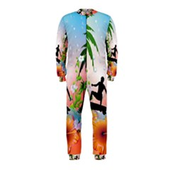 Tropical Design With Surfboarder Onepiece Jumpsuit (kids) by FantasyWorld7