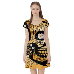 Sugar Skull In Black And Yellow Short Sleeve Skater Dresses