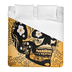 Sugar Skull In Black And Yellow Duvet Cover Single Side (twin Size) by FantasyWorld7