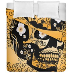 Sugar Skull In Black And Yellow Duvet Cover (double Size) by FantasyWorld7