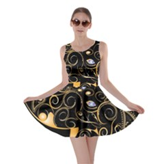 Beautiful Elephant Made Of Golden Floral Elements Skater Dresses by FantasyWorld7