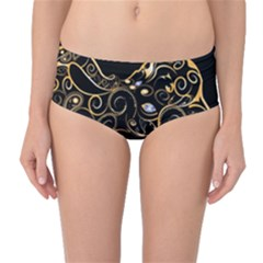 Beautiful Elephant Made Of Golden Floral Elements Mid-waist Bikini Bottoms by FantasyWorld7