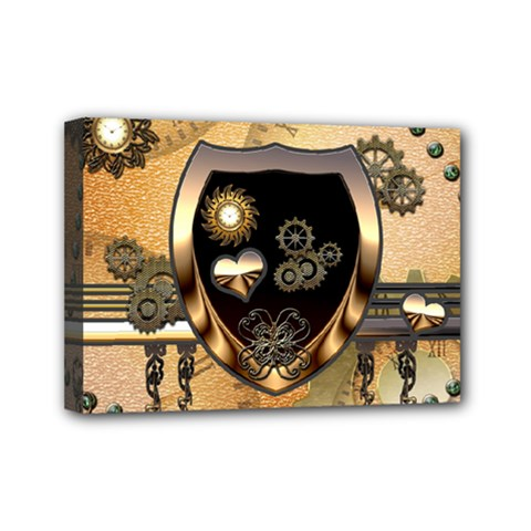 Steampunk, Shield With Hearts Mini Canvas 7  X 5  by FantasyWorld7
