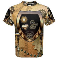 Steampunk, Shield With Hearts Men s Cotton Tees by FantasyWorld7