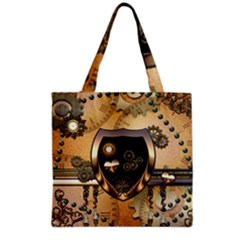 Steampunk, Shield With Hearts Grocery Tote Bags by FantasyWorld7