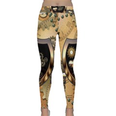 Steampunk, Shield With Hearts Yoga Leggings by FantasyWorld7