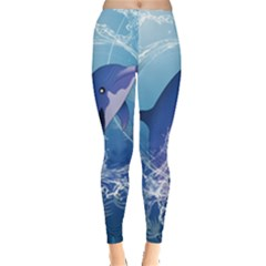Cute Dolphin Jumping By A Circle Amde Of Water Women s Leggings by FantasyWorld7