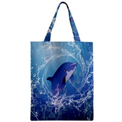 Cute Dolphin Jumping By A Circle Amde Of Water Classic Tote Bags