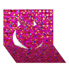 Polka Dot Sparkley Jewels 1 Heart 3d Greeting Card (7x5)  by MedusArt