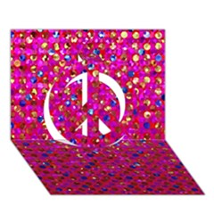 Polka Dot Sparkley Jewels 1 Peace Sign 3d Greeting Card (7x5)  by MedusArt