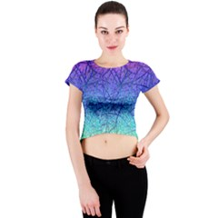 Grunge Art Abstract G57 Crew Neck Crop Top by MedusArt