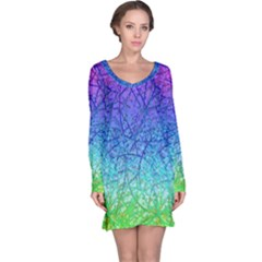 Grunge Art Abstract G57 Long Sleeve Nightdresses by MedusArt