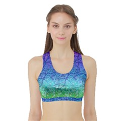 Grunge Art Abstract G57 Women s Sports Bra With Border