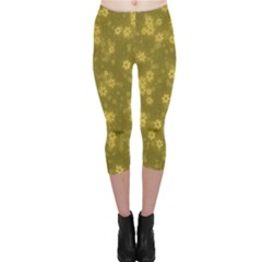 Snow Stars Golden Capri Leggings by ImpressiveMoments