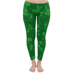 Snow Stars Green Winter Leggings by ImpressiveMoments
