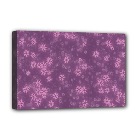 Snow Stars Lilac Deluxe Canvas 18  X 12   by ImpressiveMoments