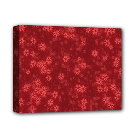 Snow Stars Red Deluxe Canvas 14  X 11