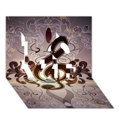 Music, Wonderful Clef With Floral Elements Love 3d Greeting Card (7x5)  by FantasyWorld7