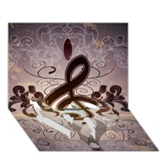 Music, Wonderful Clef With Floral Elements Love Bottom 3d Greeting Card (7x5)