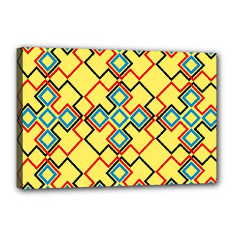 Shapes On A Yellow Background Canvas 18  X 12  (stretched) by LalyLauraFLM
