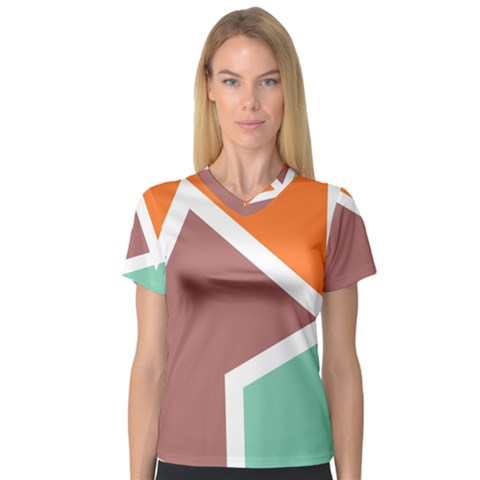 Misc Shapes In Retro Colors Women s V-neck Sport Mesh Tee by LalyLauraFLM