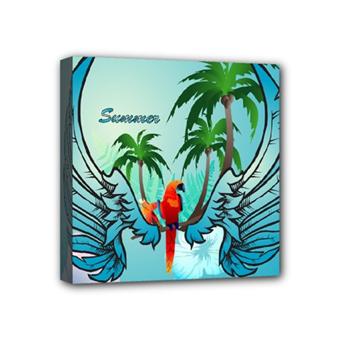 Summer Design With Cute Parrot And Palms Mini Canvas 4  X 4