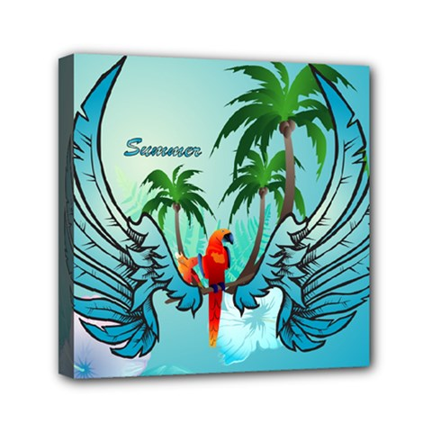 Summer Design With Cute Parrot And Palms Mini Canvas 6  X 6