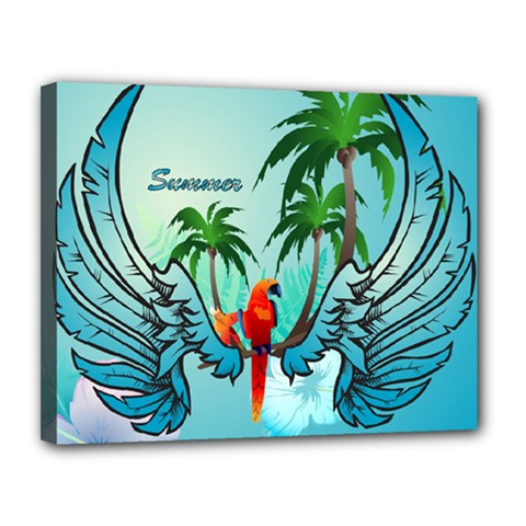 Summer Design With Cute Parrot And Palms Canvas 14  X 11