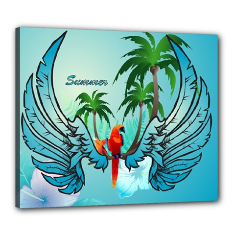 Summer Design With Cute Parrot And Palms Canvas 24  X 20