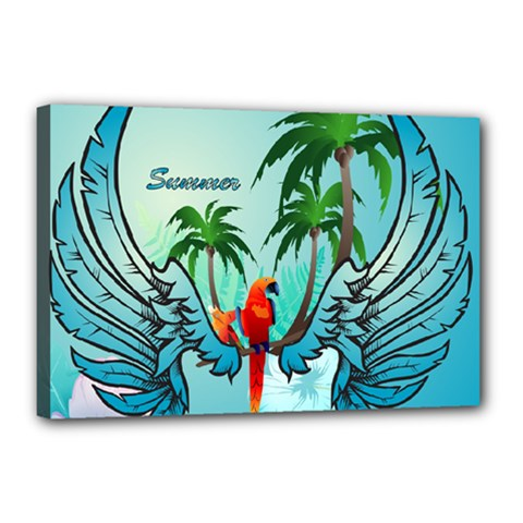 Summer Design With Cute Parrot And Palms Canvas 18  X 12