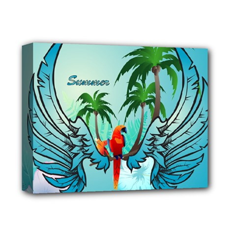 Summer Design With Cute Parrot And Palms Deluxe Canvas 14  X 11