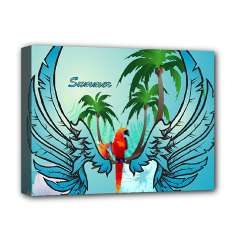 Summer Design With Cute Parrot And Palms Deluxe Canvas 16  X 12