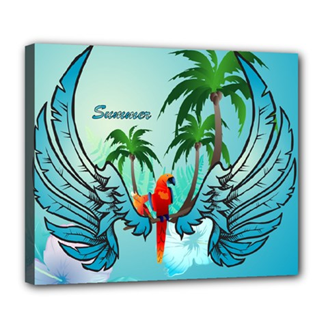 Summer Design With Cute Parrot And Palms Deluxe Canvas 24  X 20