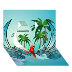 Summer Design With Cute Parrot And Palms Heart 3d Greeting Card (7x5)