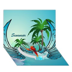 Summer Design With Cute Parrot And Palms Circle Bottom 3d Greeting Card (7x5)